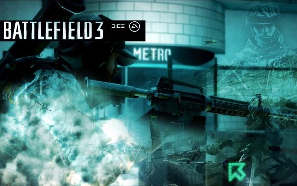 Фото обои метро, солдат, battlefield
