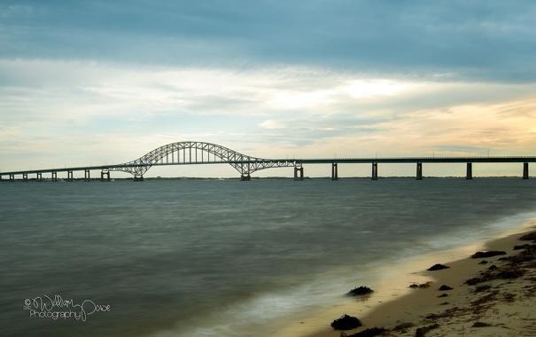 Фото обои пейзаж, мост, река