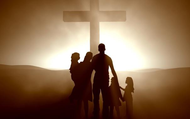 Фото обои свет, жизнь, крест, семья, wallpaper, people, mood