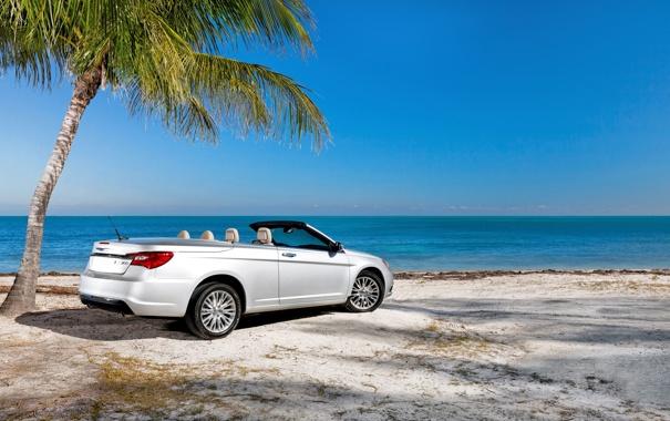 Фото обои Небо, Море, Пляж, Авто, Дерево, Chrysler, Пальма
