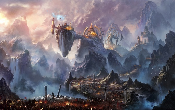 Фото обои дорога, горы, город, скалы, армия, арт, статуя