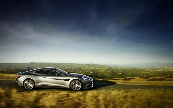 Фото обои Aston Martin, Авто, Дорога, Серый, Vanquish, Спорткар, Вид сбоку
