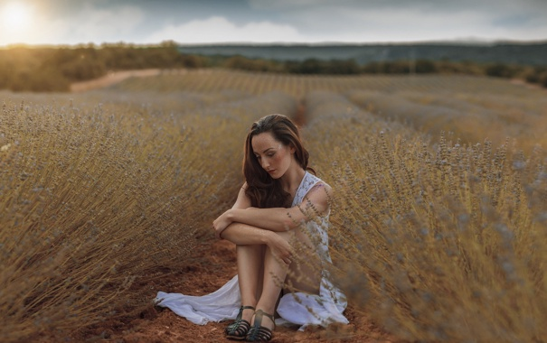 Фото обои грусть, девушка, природа, лицо, ножки