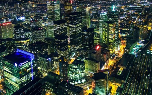 Фото обои ночь, город, огни, панорама, Canada, небоскрёбы, Toronto