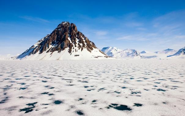 Фото обои зима, небо, снег, горы, озеро, гора, лёд