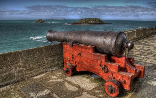 Фото обои пушка, France, Brittany, St.-Malo