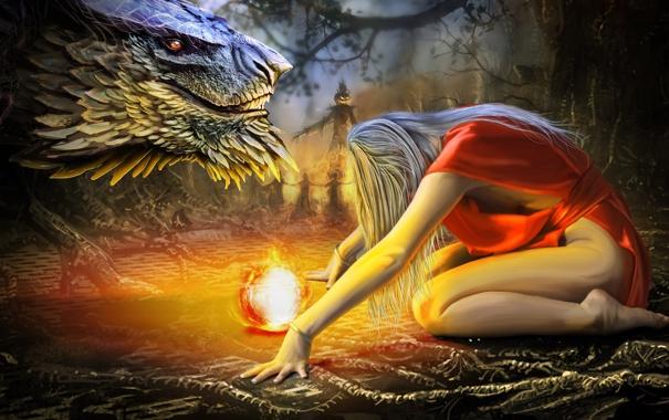 Фото обои девушка, фантастика, волосы, дракон, шар, арт, блондинка