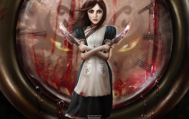 Фото обои Часы, Кровь, Алиса, Ножи, Alice, Alice Madness Returns