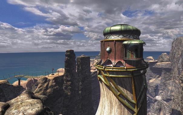 Фото обои море, пейзаж, мост, скалы, здание, лестница, myst 3