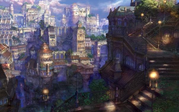 Фото обои город, мир, арт, фонари, лестница, сказочный, Fairytail