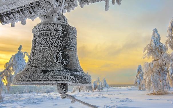 Фото обои снег, пейзаж, колокол