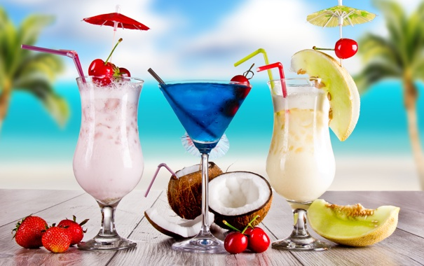Фото обои summer, beach, drink, cocktail, fruits, palms, tropical