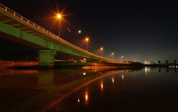 Фото обои вода, ночь, мост, огни, река