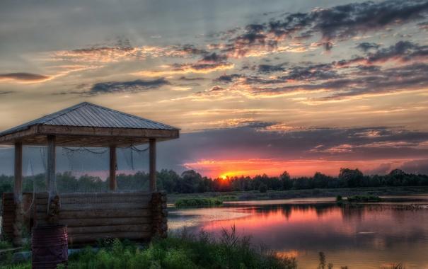 Фото обои закат, пейзаж, беседка, озеро