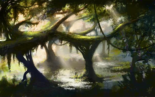 Фото обои вода, пруд, дерево, заросли, болото, джунгли, арт