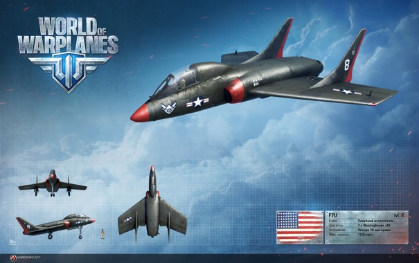 Фото обои США, Америка, F7U 3 Cutlass, WoWp, World of Warplanes, самолёт, Wargaming.net