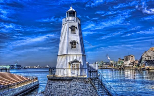 Фото обои небо, маяк, дома, Япония, hdr, залив