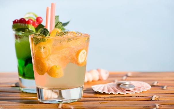 Фото обои summer, напитки, beach, fresh, коктейли, fruit, drink