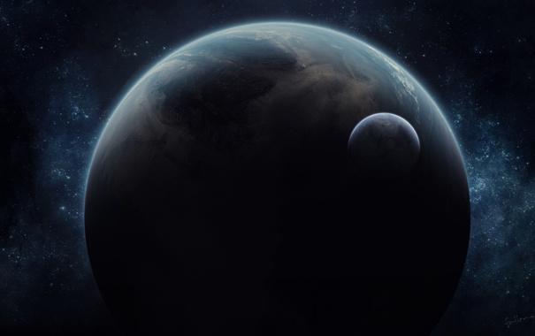 Фото обои космос, звезды, планета, спутник