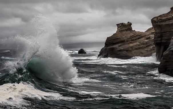 Фото обои море, волны, пейзаж, природа, скалы