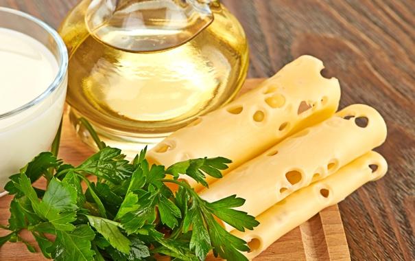 Фото обои зелень, масло, сыр, доска, петрушка