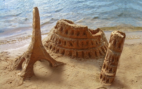 Фото обои песок, Italy, Колизей, пляж, Пизанская башня
