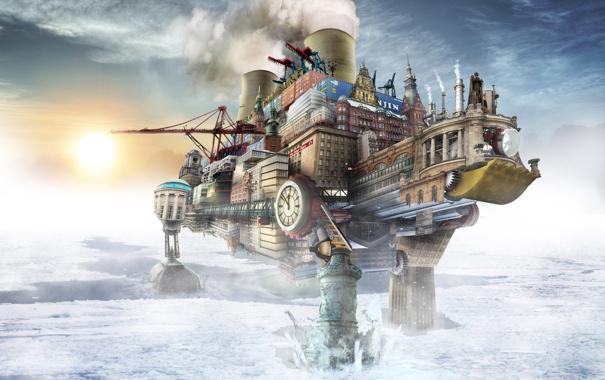 Фото обои город, льды, на ногах