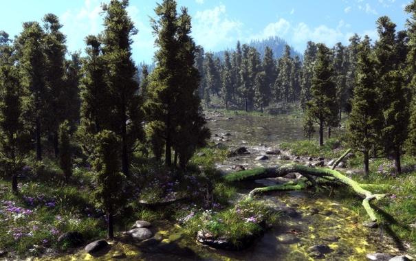 Фото обои деревья, цветы, природа, река, камни, мох, арт