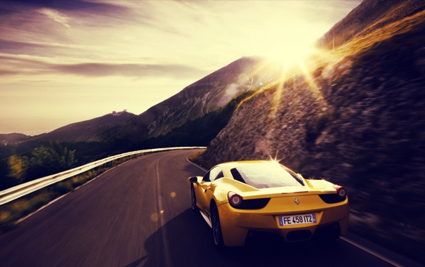 Фото обои car, ferrari, yellow, 458 italia