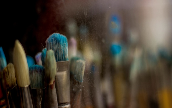 Фото обои цвета, краски, кисточка, кисти