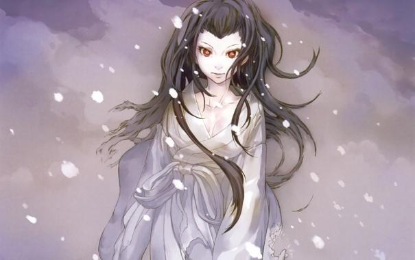 Фото обои зима, глаза, девушка, снег, лицо, аниме, арт