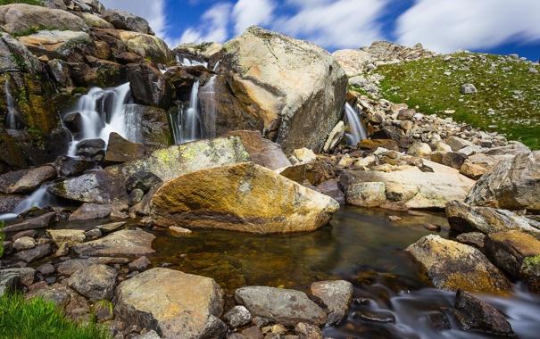 Фото обои природа, река, камни, водопад