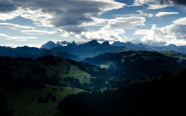 Фото обои лес, небо, облака, долина