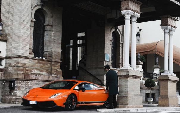Фото обои оранжевая, Superleggera, Lamborghini galardo