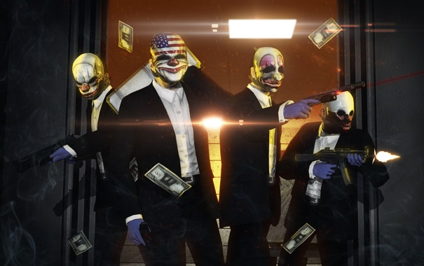 Фото обои бандиты, доллары, маски, грабители, кастюмы, Pay Day 2