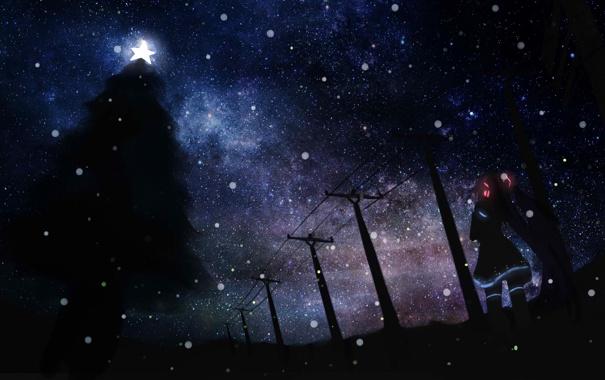 Фото обои зима, небо, девушка, звезды, ночь, праздник, провода