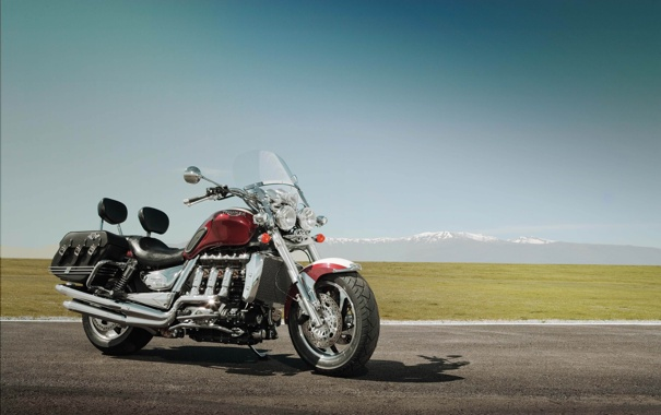 Фото обои небо, гора, луг, мотоцикл, красивый, крутой, класика