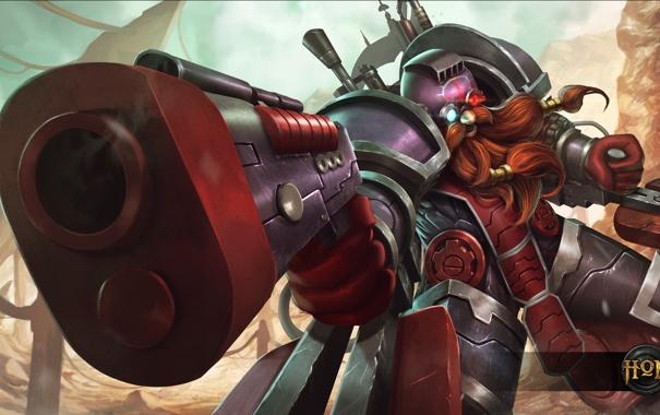 Фото обои пистолет, герой, ствол, шлем, пушка, броня, борода