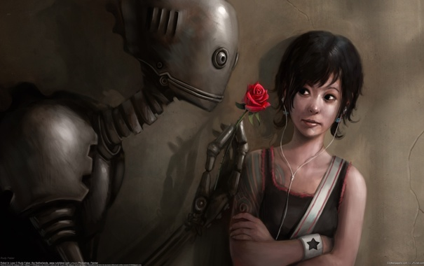Фото обои цветок, девушка, роза, робот, тату, плеер, влюбленный