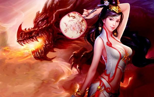 Фото обои fire, Dragon, boobs, breast, women, creature, oriental