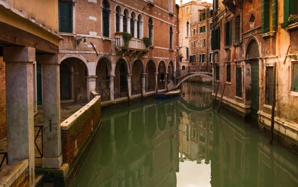 Фото обои мост, дома, Италия, Венеция, канал