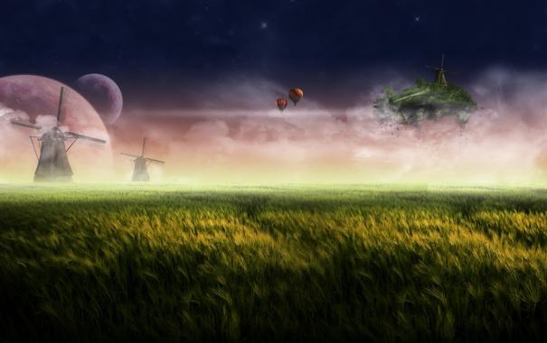 Фото обои трава, остров, мельницы, летучий