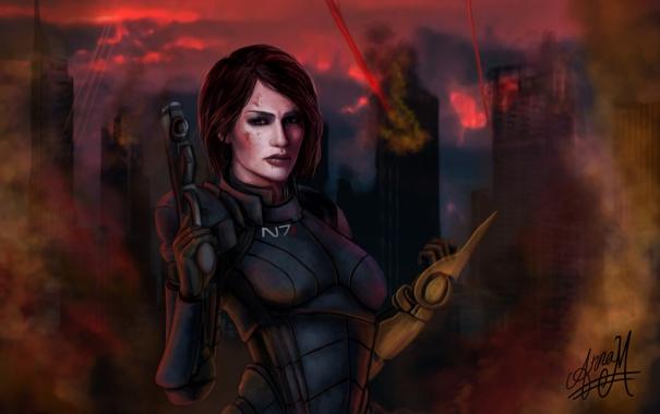 Фото обои взгляд, девушка, город, оружие, разрушения, костюм, mass effect