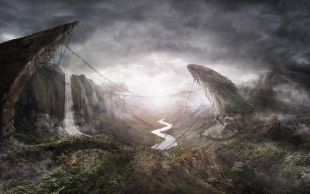 Фото обои лес, горы, река, водопад, джунгли
