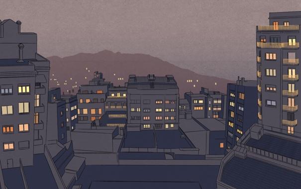 Фото обои свет, огни, города, настроение, окна, дома, минимализм