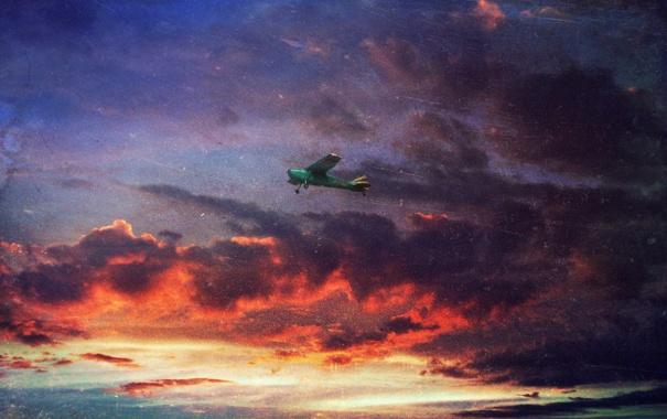 Фото обои небо, облака, полет, закат, самолет