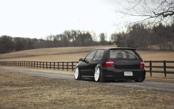 Фото обои black, R32, tuning, gti, задок, low
