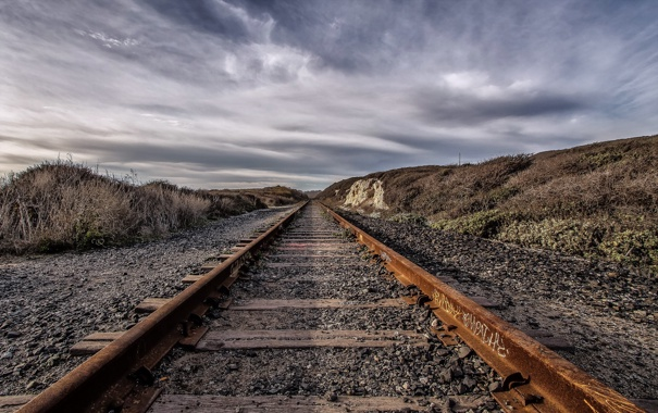 Фото обои железная дорога, пейзаж, перспектива
