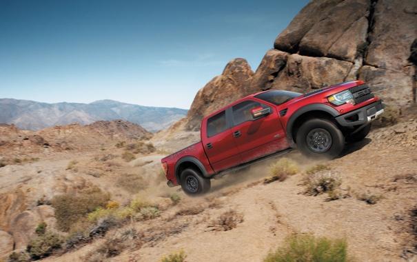 Фото обои Ford, Красный, Авто, Машина, Форд, День, Пикап
