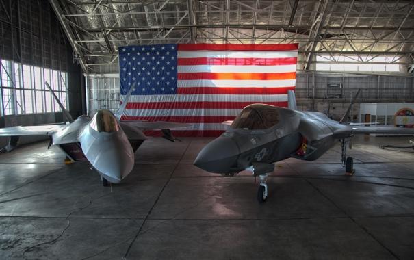Фото обои F-35A, ангар, истребители, F-22 Raptor